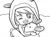 Cartoon Cute Girl Pillow Coloring Page