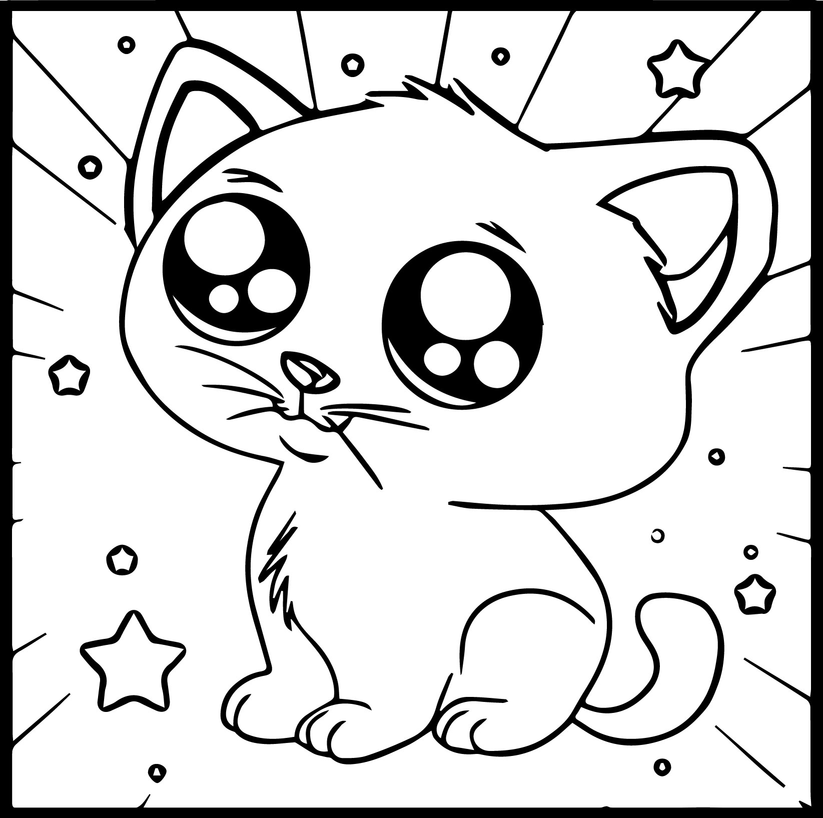 Cartoon Kitty Cute Coloring Page