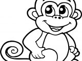 Cartoon Monkey Smile Coloring Page