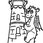 Castle Dragon Guard Coloring Page