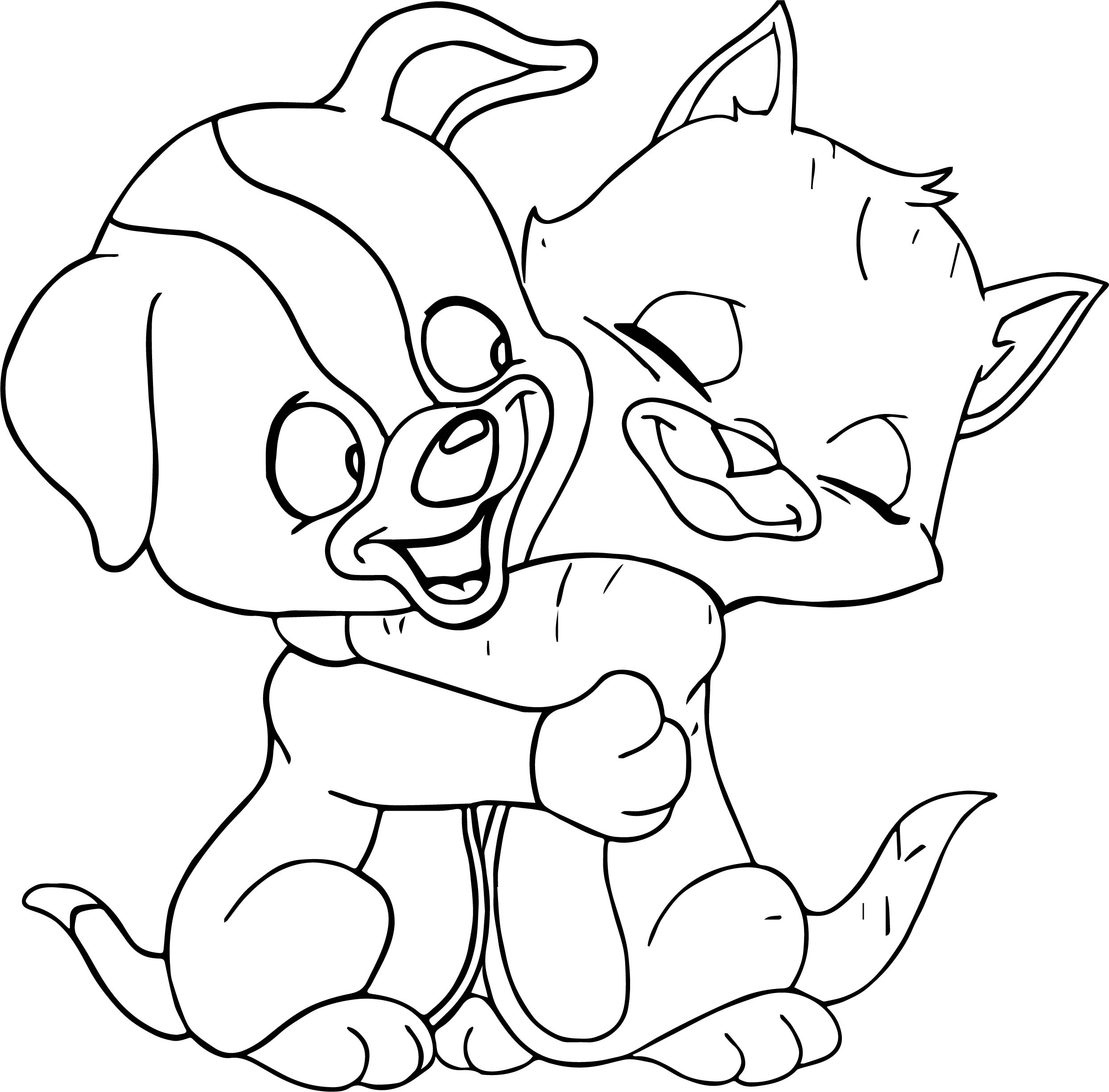 Cat Dog Hug Coloring Page