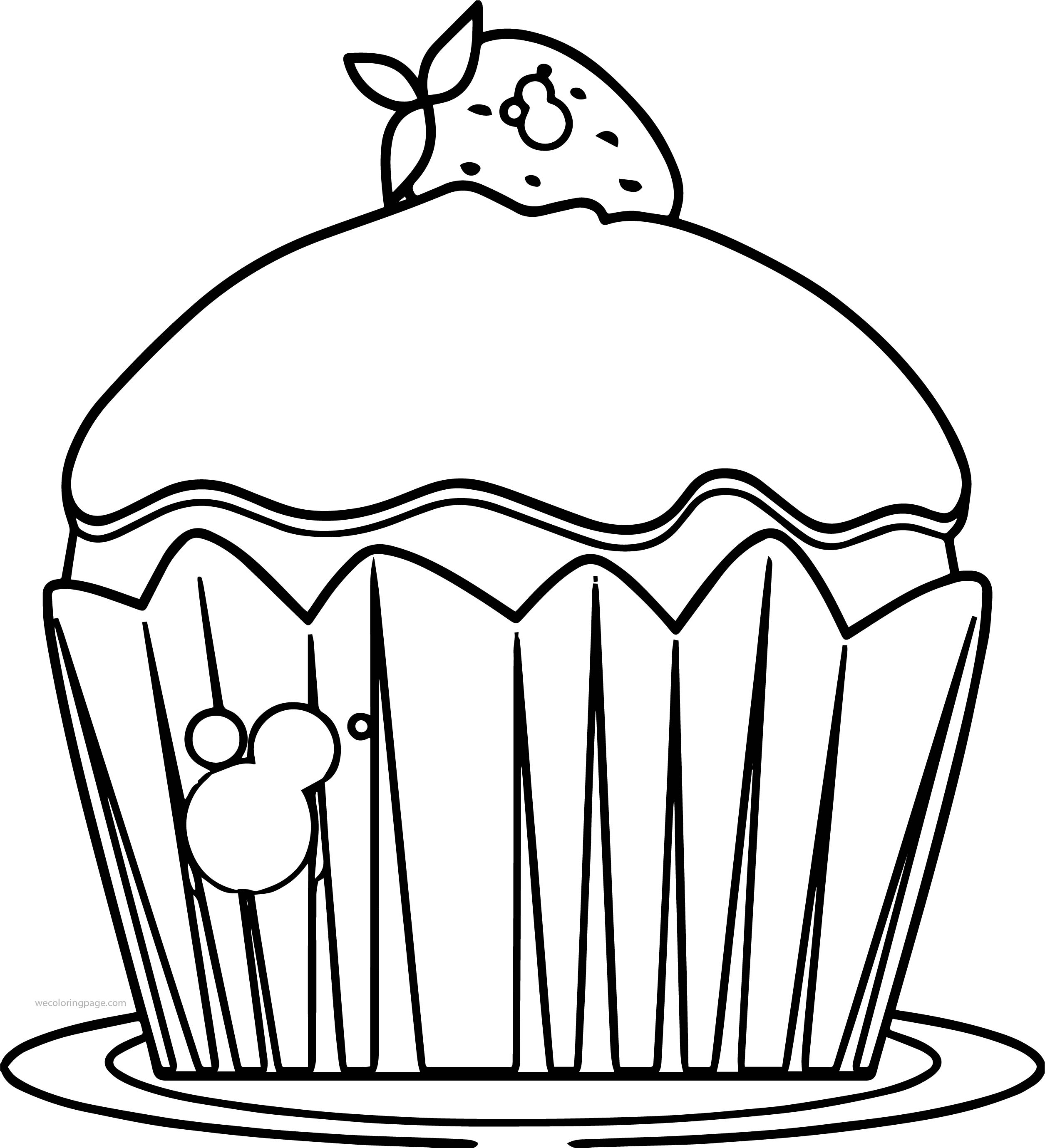 Cherry Cupcake Cup Cake Coloring Page