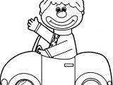Clown Driving Car Coloring Page