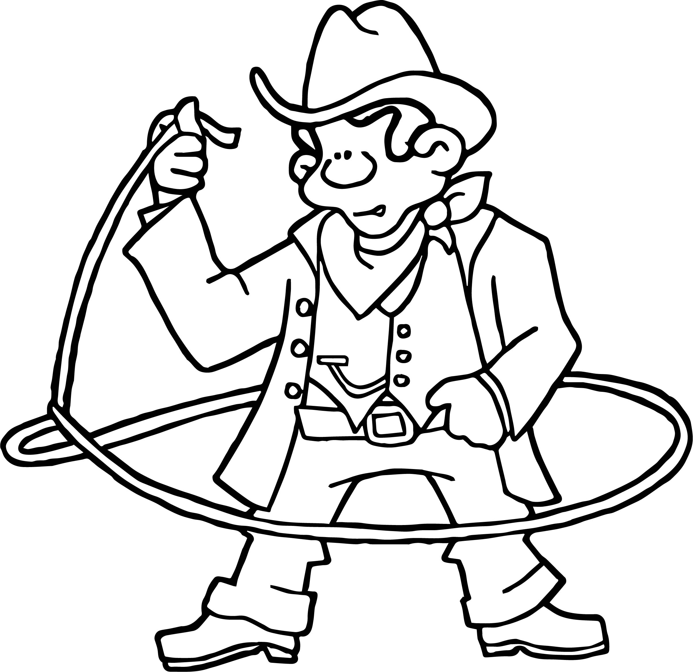 Cowboy Turn Rope American History Cowboy Coloring Page