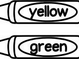 Crayon Yellow Green Coloring Page