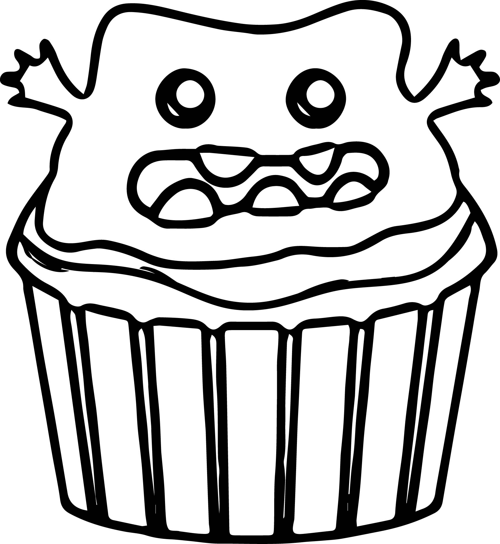 Creature Halloween Cupcake Coloring Page