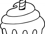 Cupcake Cup Cake Candle Coloring Page