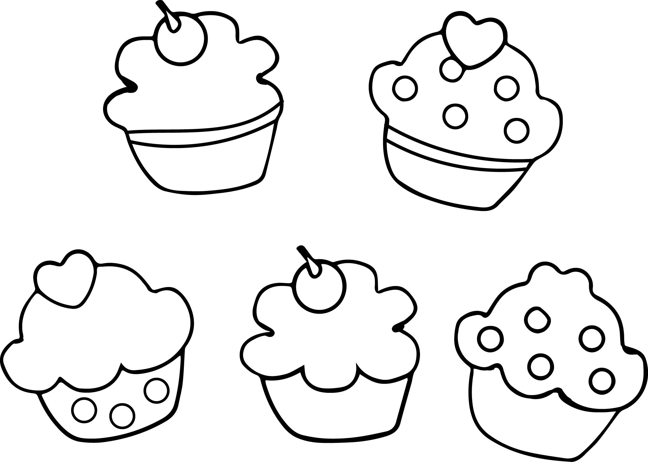 Cupcakes Printable Outline Black White Coloring Page