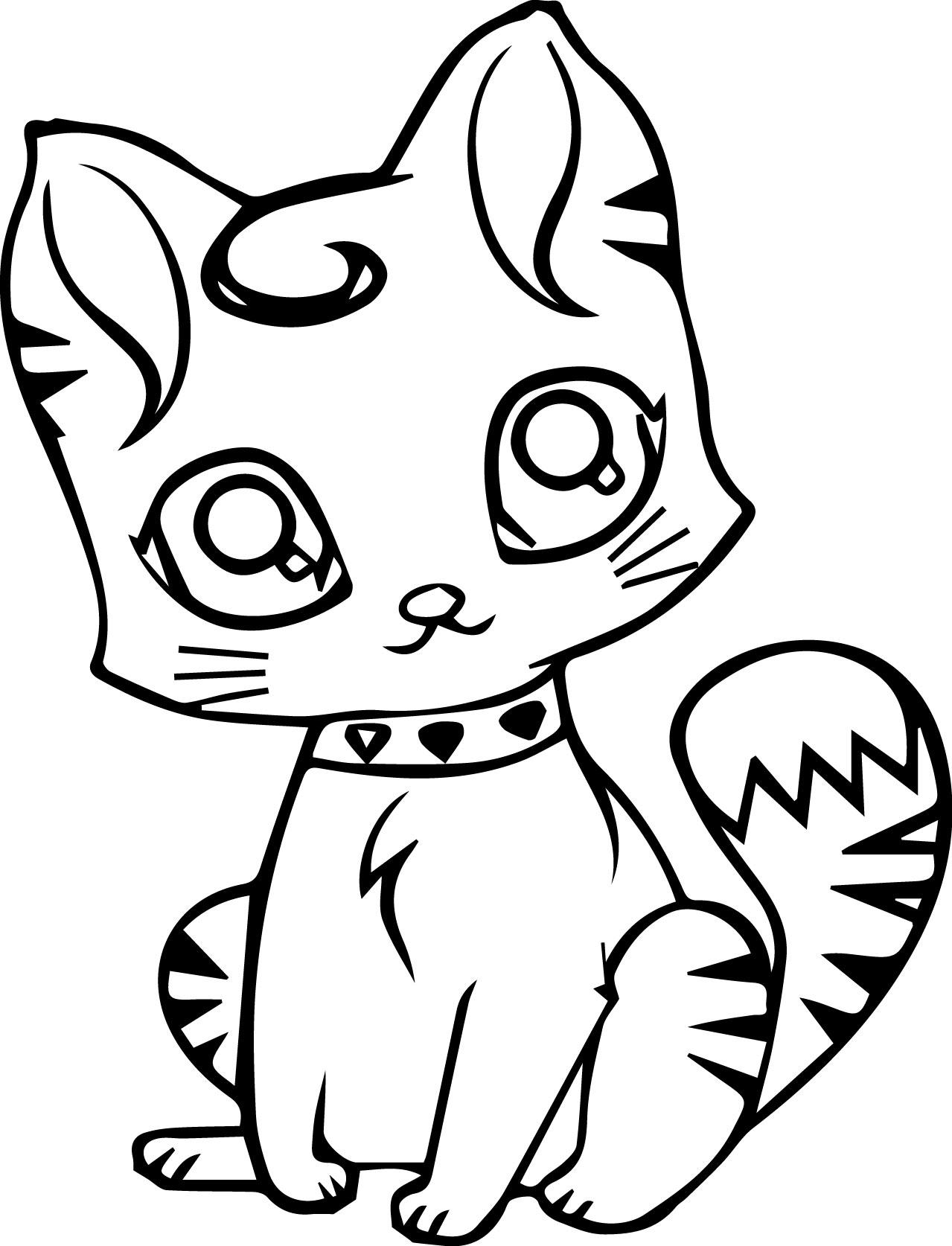 Cute Cartoon Cat Coloring Page | Wecoloringpage.com