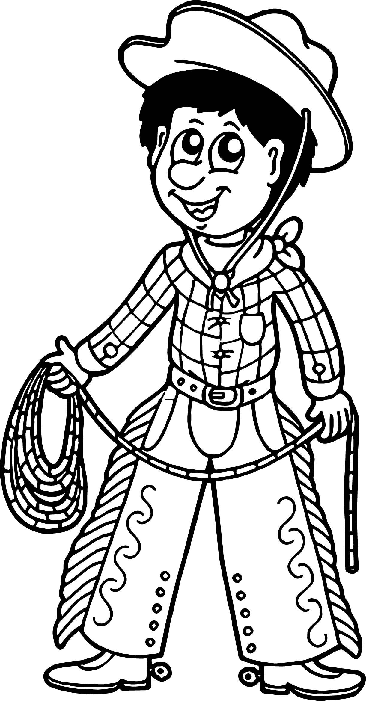 Cute Cowboy Cutcaster Photo Cartoon Cowboy With Lasso Coloring Page