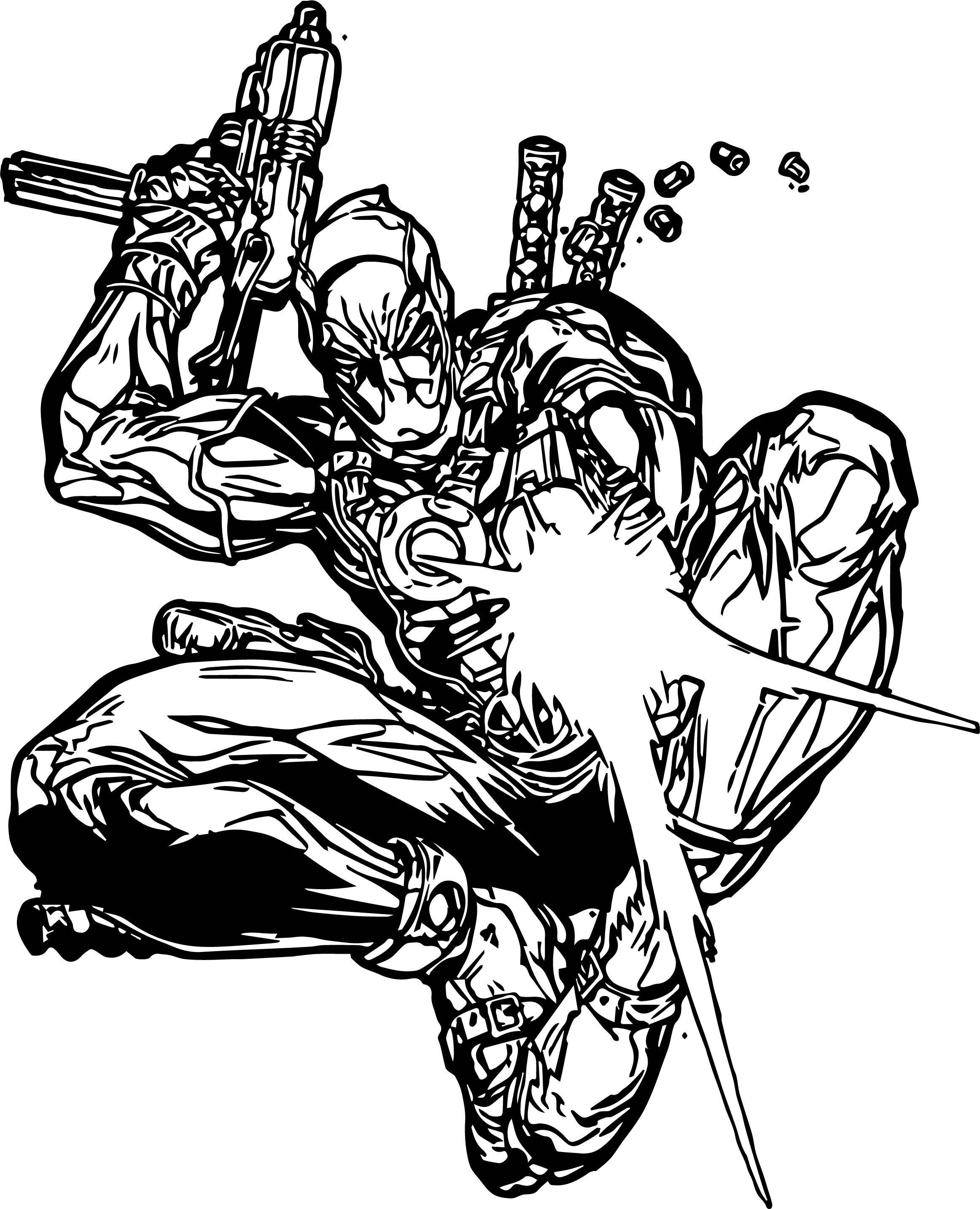 Deadpool Coloring Pages: Deadpool Bang Coloring Page