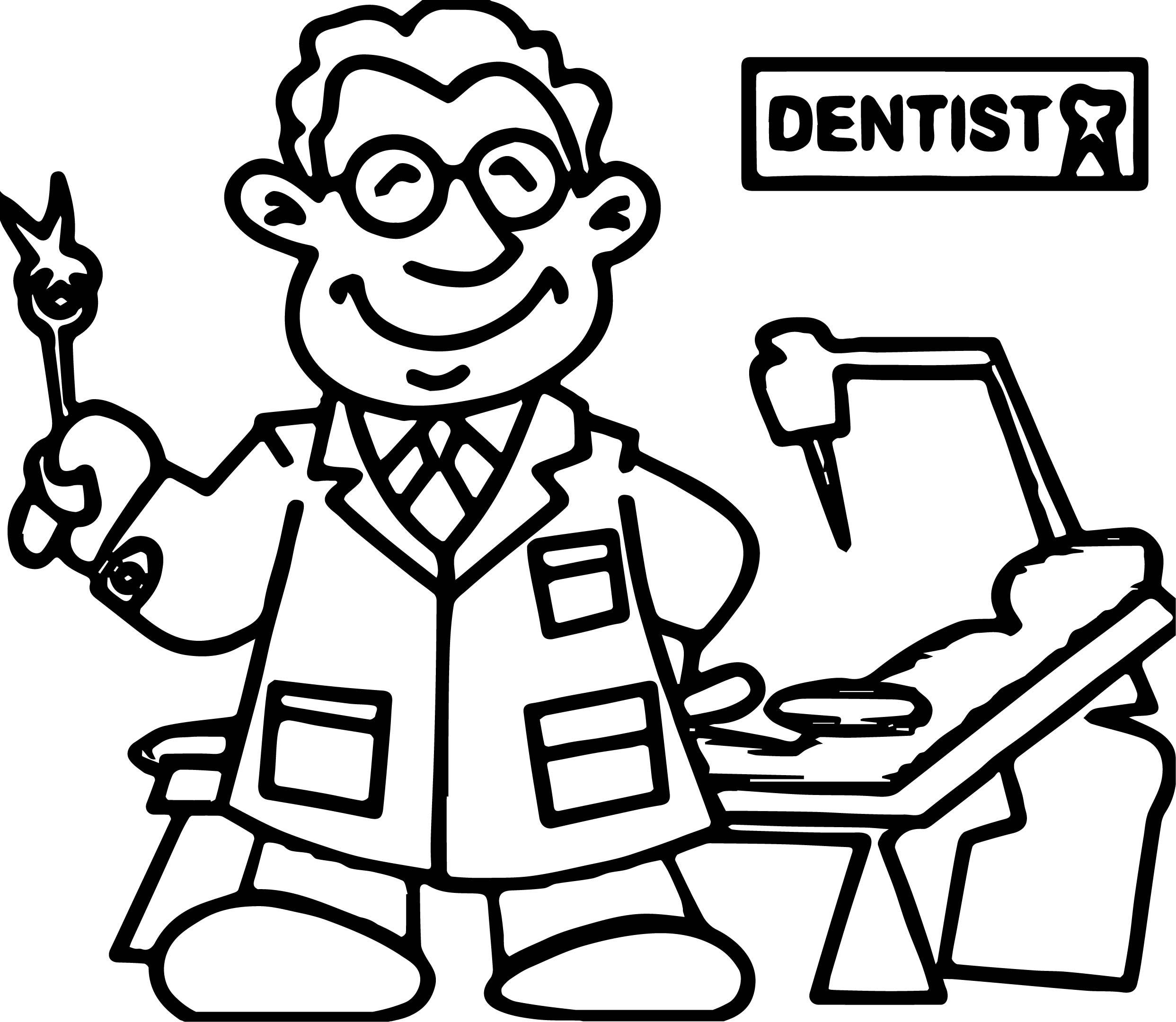 Dental Dentist Doctor Man Coloring Page