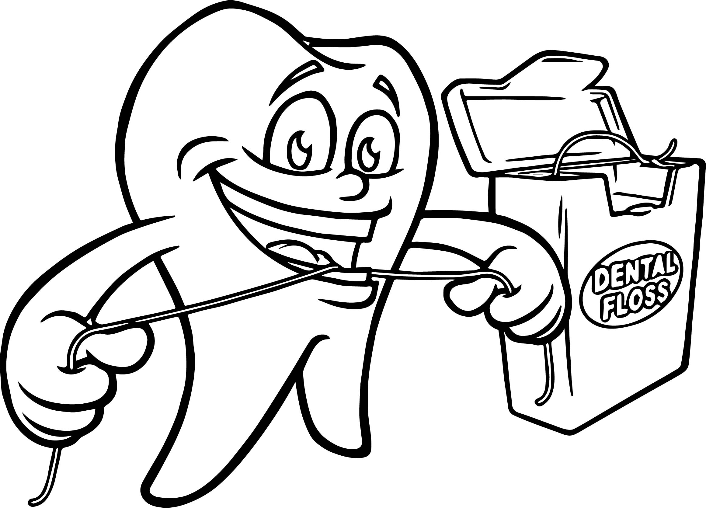 Dental Floss Teeth Coloring Page