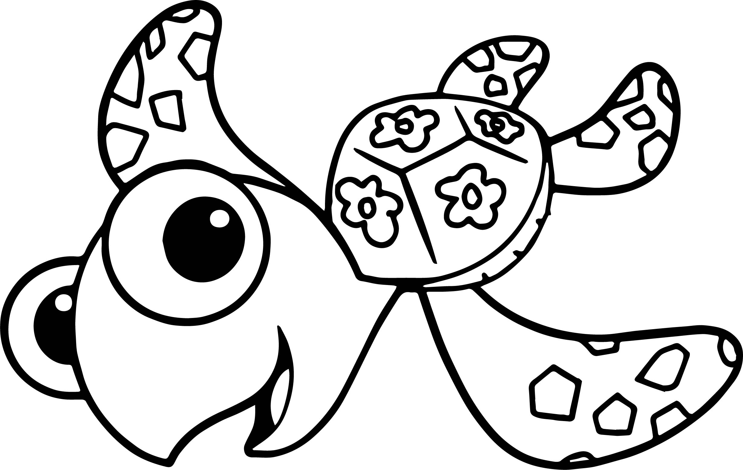 Disney finding nemo squirt sea turtle coloring pages for Turtle coloring pages