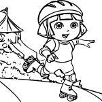 Dora Skate Adventure Cartoon Coloring Page