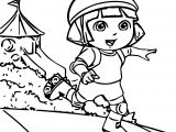 Dora Skate Adventure Cartoon Coloring Page