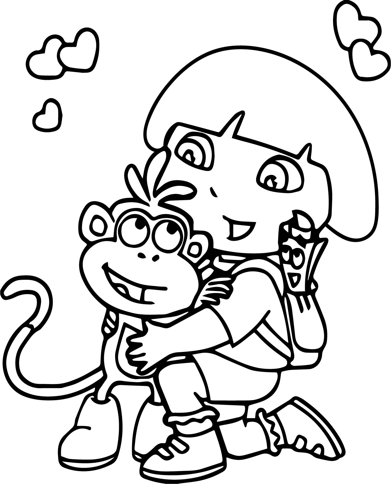 Dora The Explorer And Boots Coloring Page