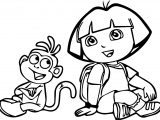 Dora The Explorer And Monkey Funny Coloring Page