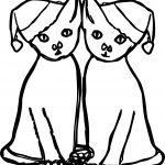 Double Chrismas Cat Coloring Page