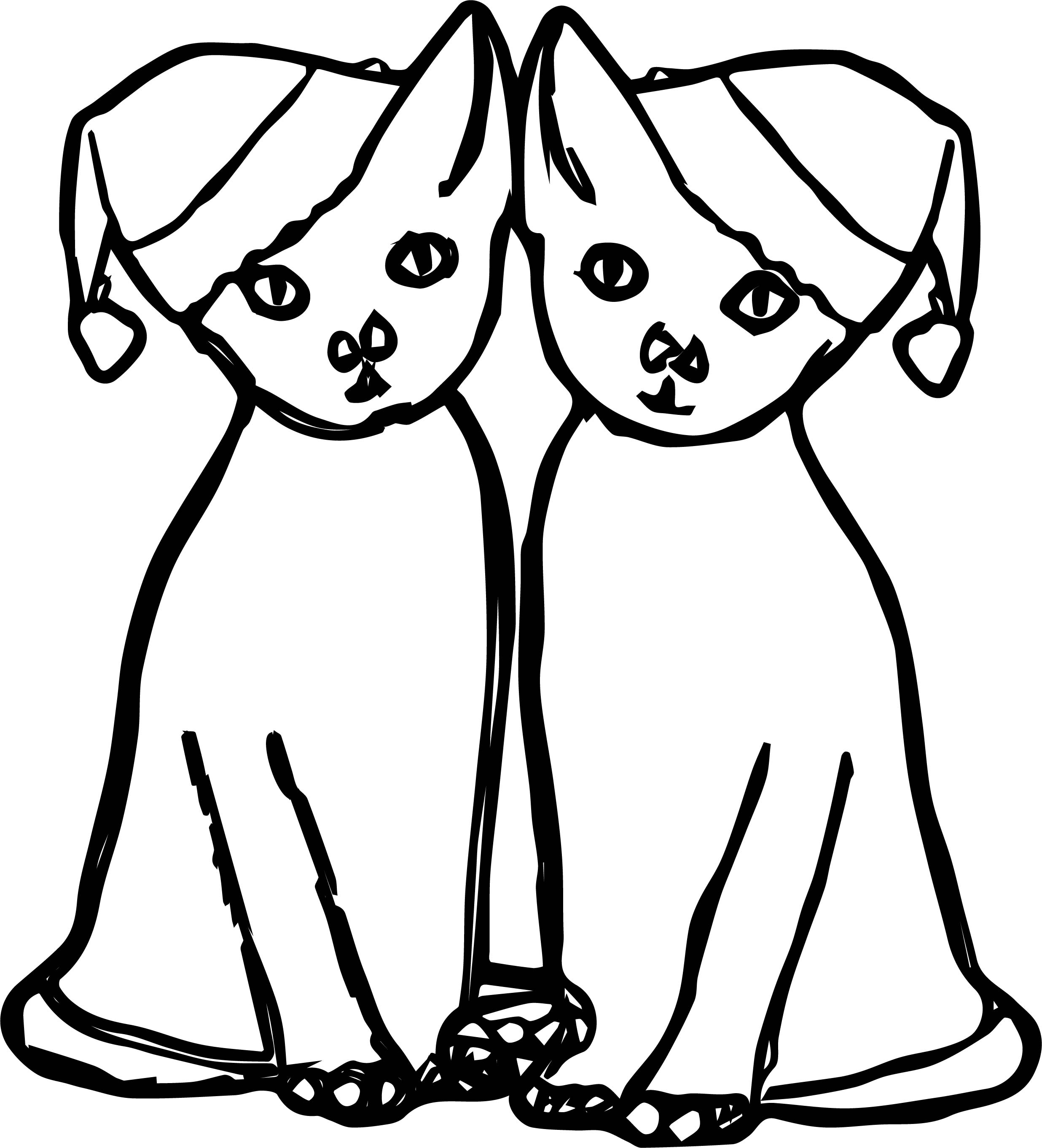 Double Chrismas Cat Coloring Page