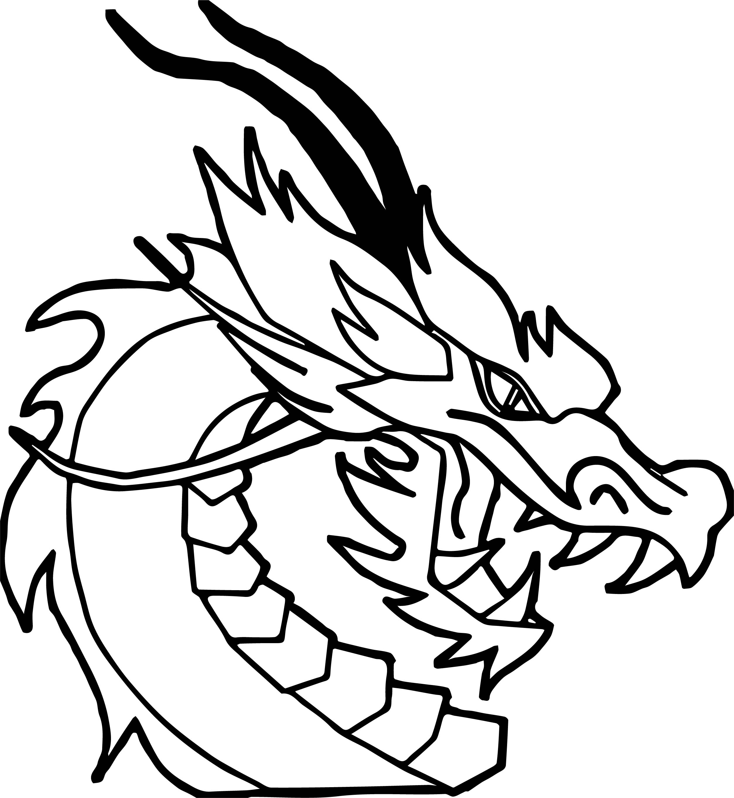 Dragon Face Side View Coloring Page | Wecoloringpage.com
