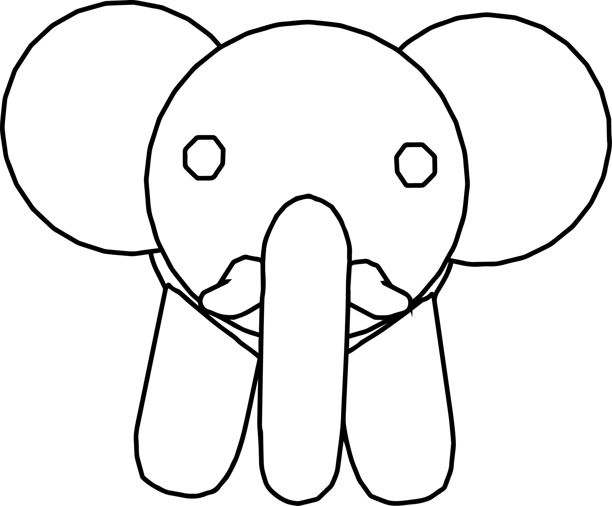 Elephant Face Front View Coloring Page