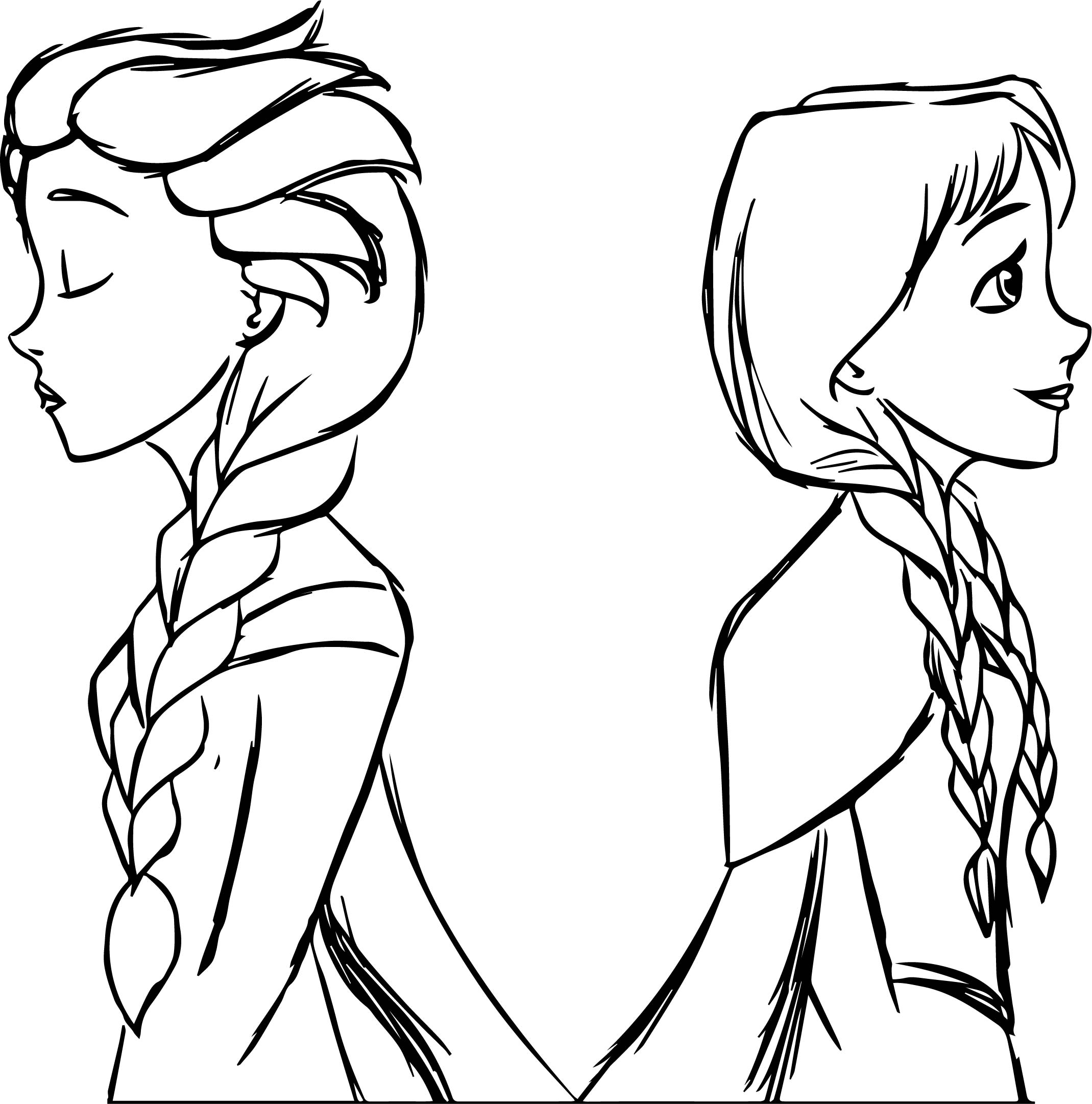 Anna Elsa Olaf Coloring Page