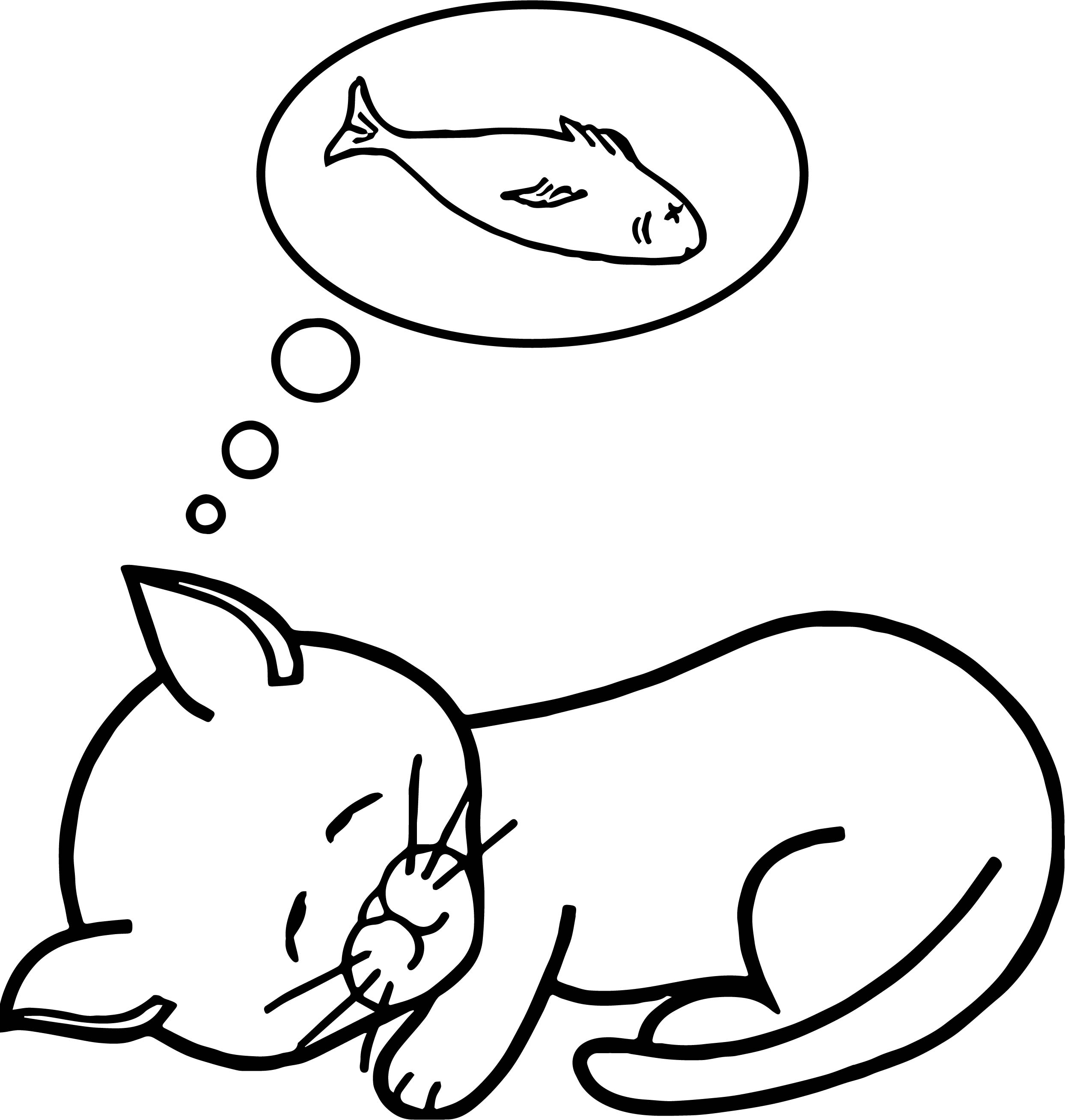 Fish Dream Cat Coloring Page