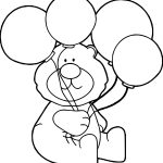 Four Balloon Bear Coloring Page