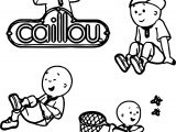 Four Caillou Coloring Page