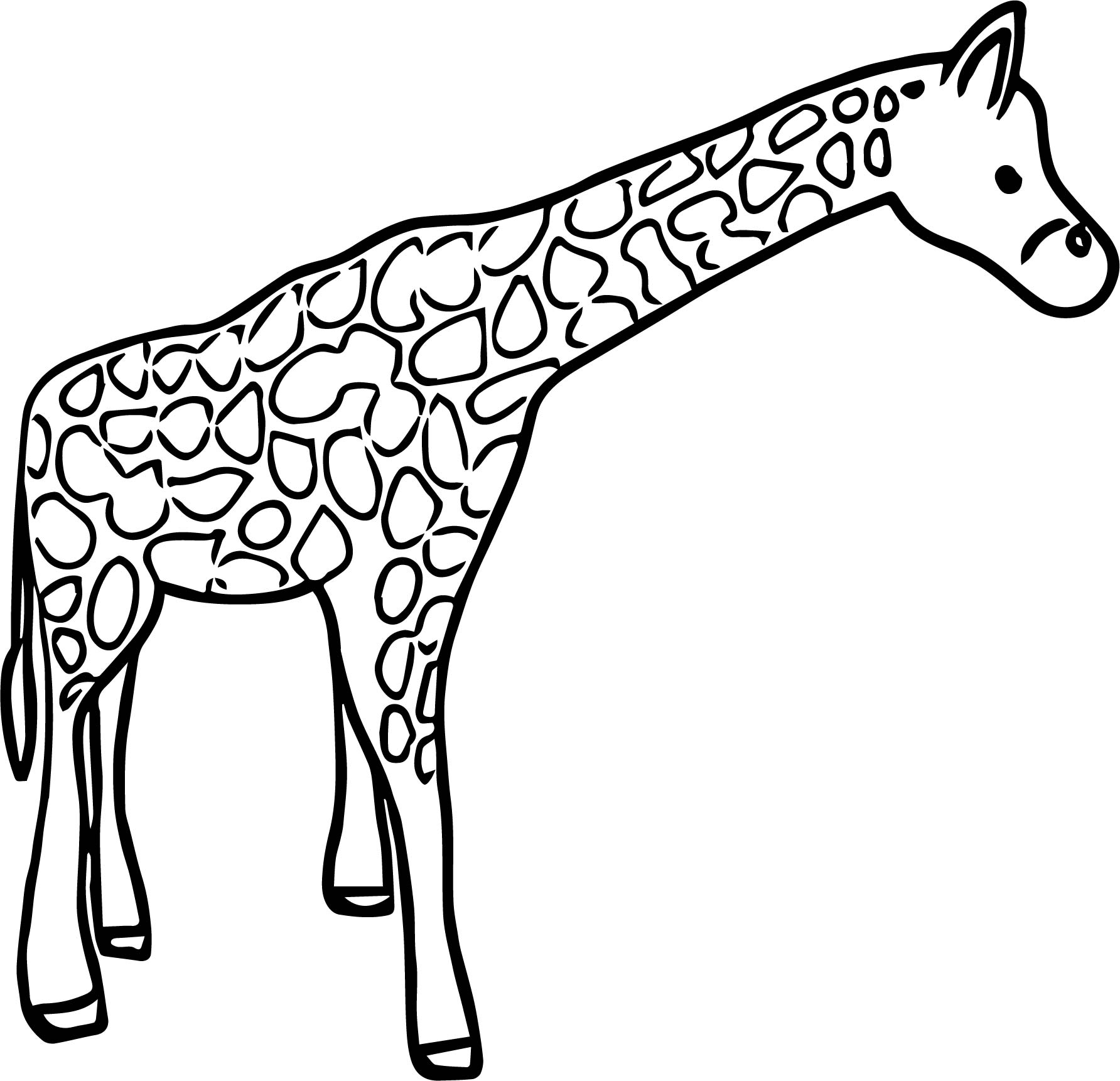 Giraffe Thoughtful Coloring Page