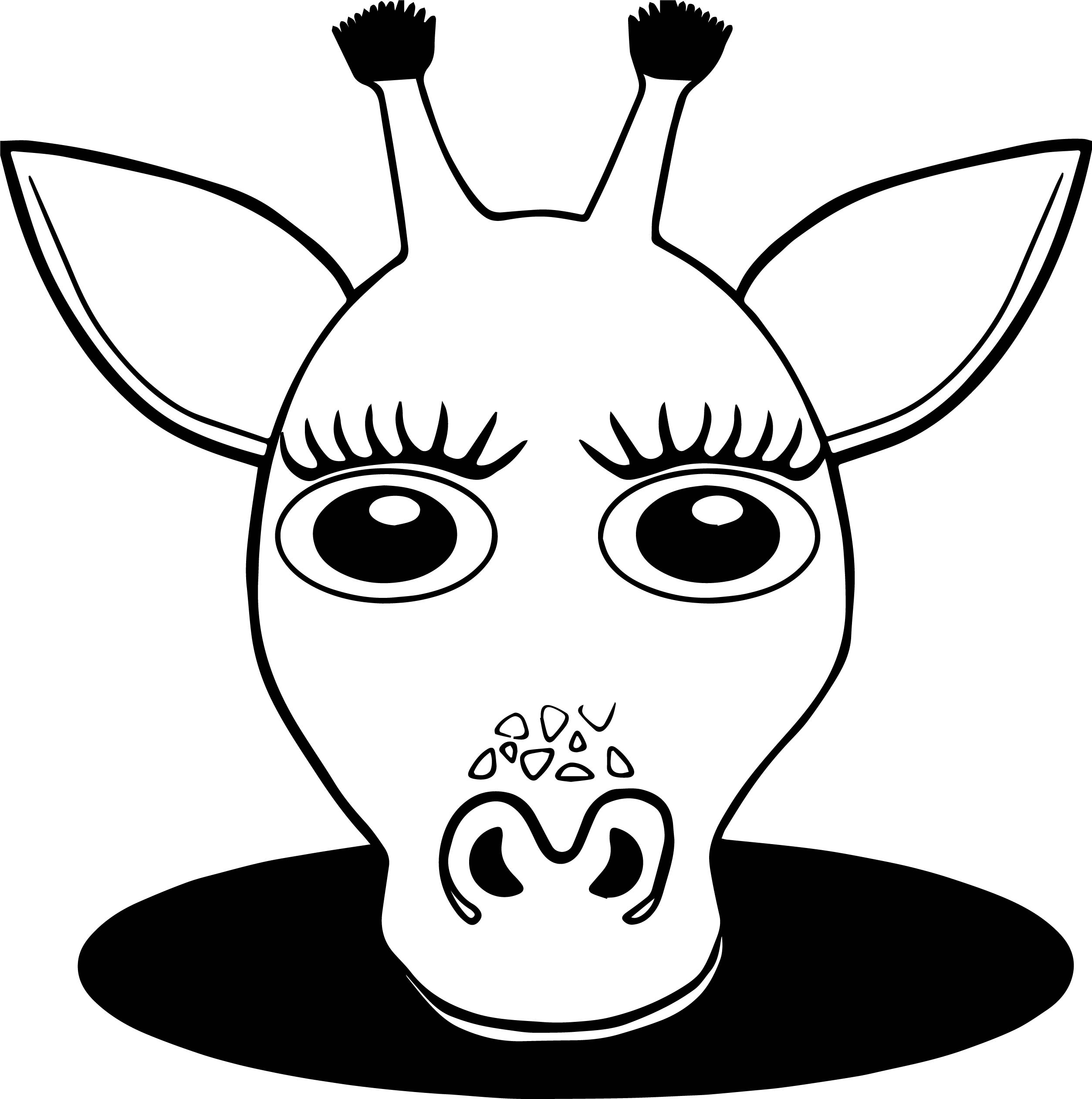 Girl Giraffe Face Coloring Page