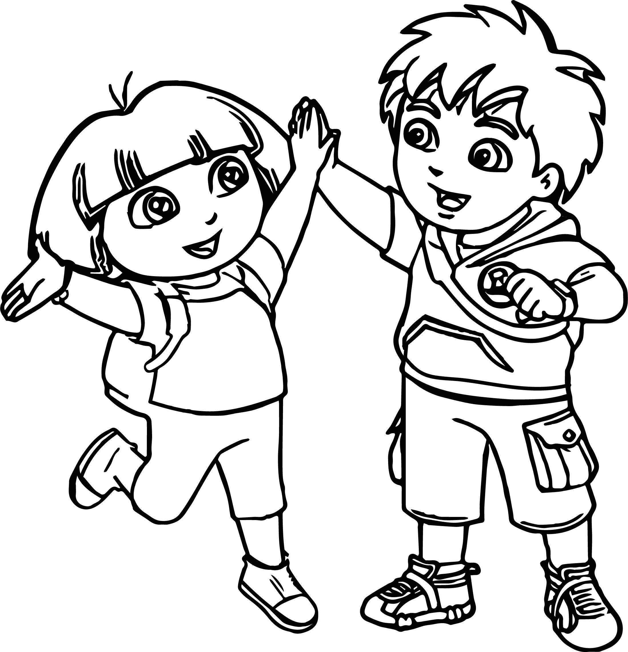 Go Diego Go And Dora Best Friends Coloring Page
