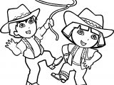 Go Diego Go And Dora Cowboy Coloring Page