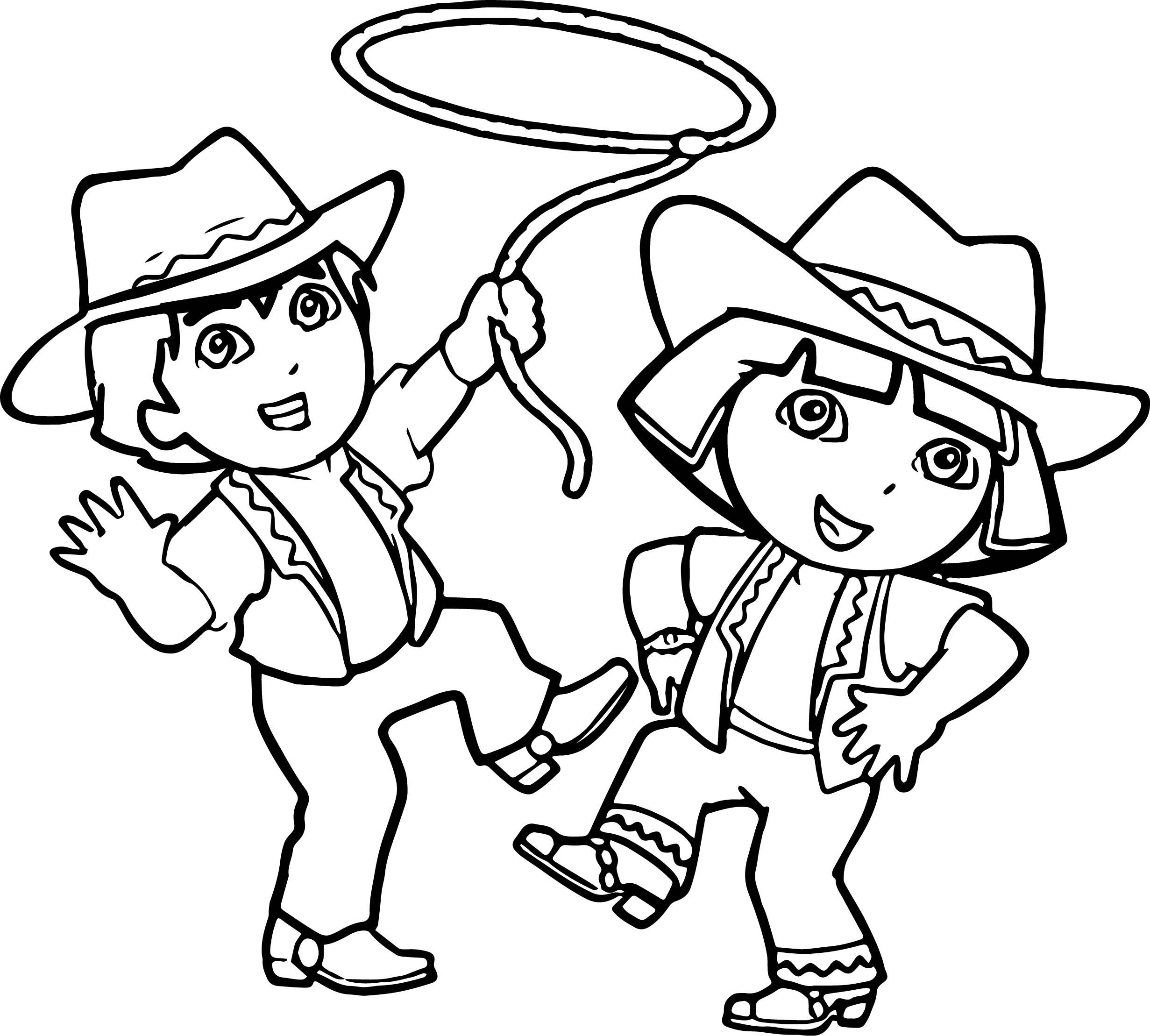 Go Diego Go And Dora Cowboy Coloring Page