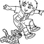 Go Diego Go And Lion Running Coloring Page