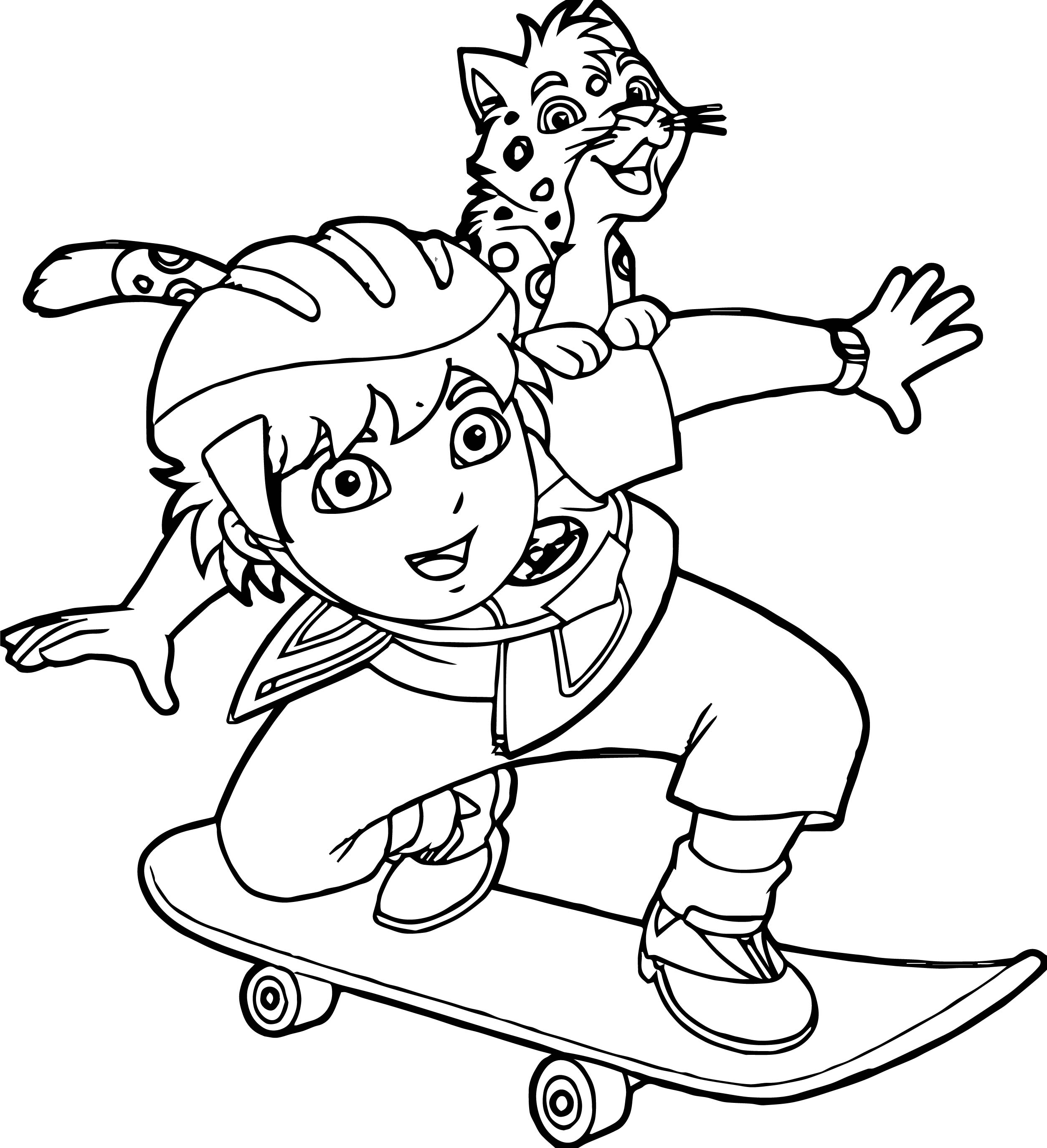 Go Diego Go And Lion Skate Coloring Page