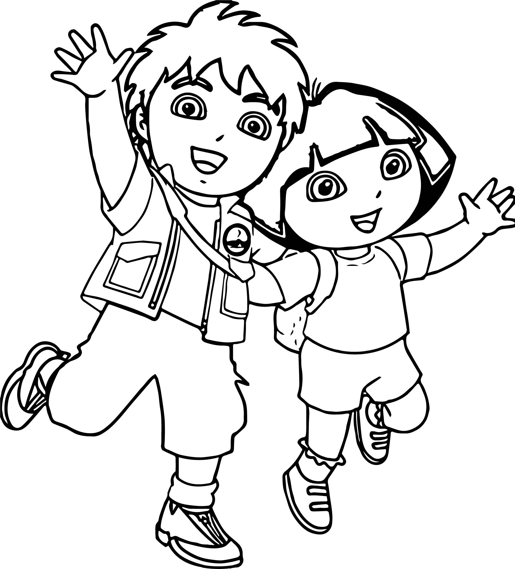 Go diego go dora boy girl coloring page for Coloring pages girl and boy