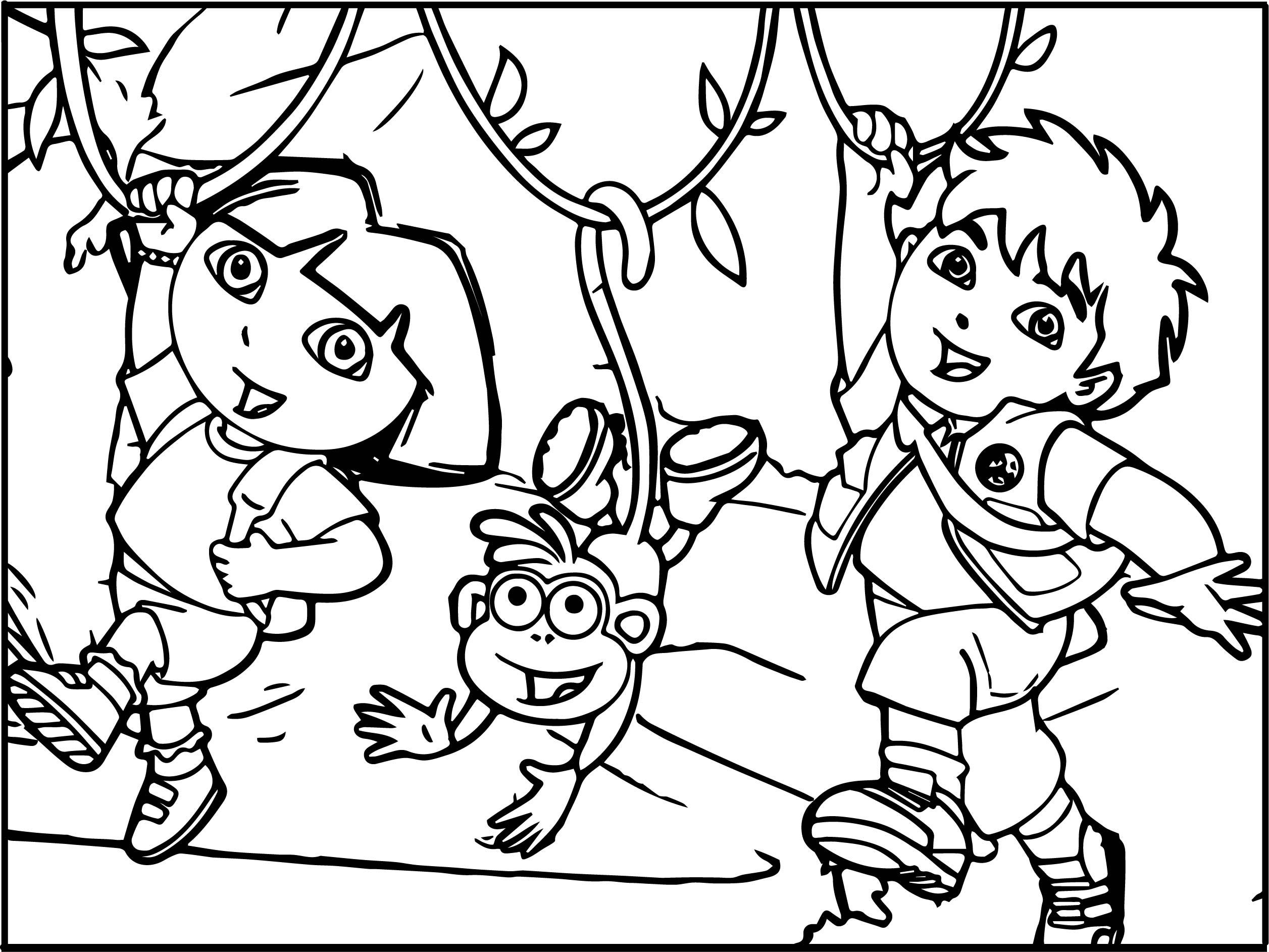 Go Diego Go Dora Monkey Coloring Page