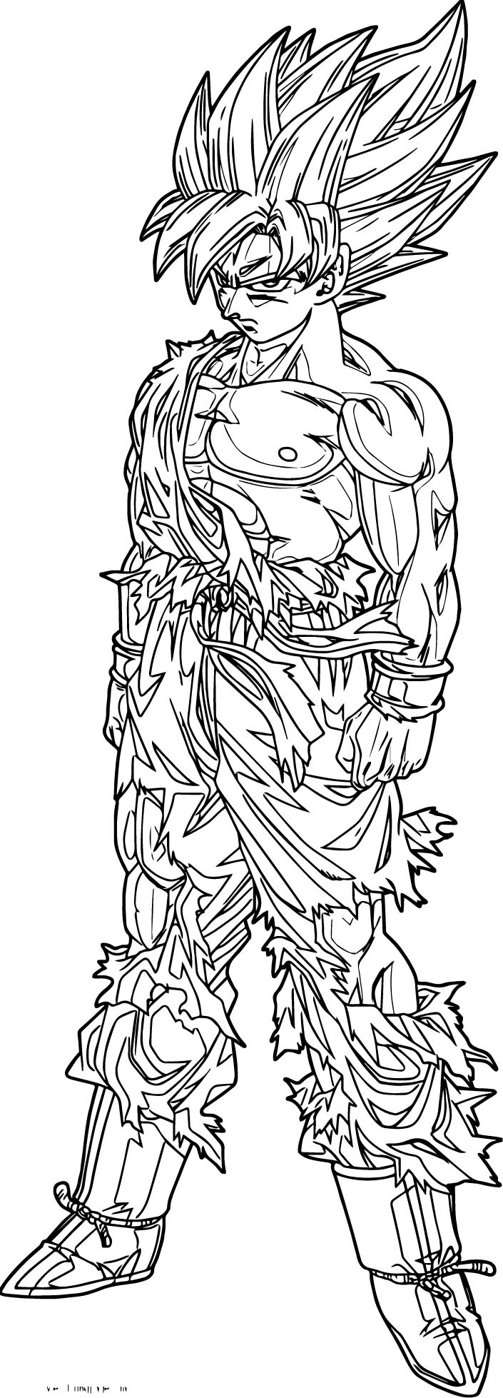Goku black white coloring page for Goku coloring page