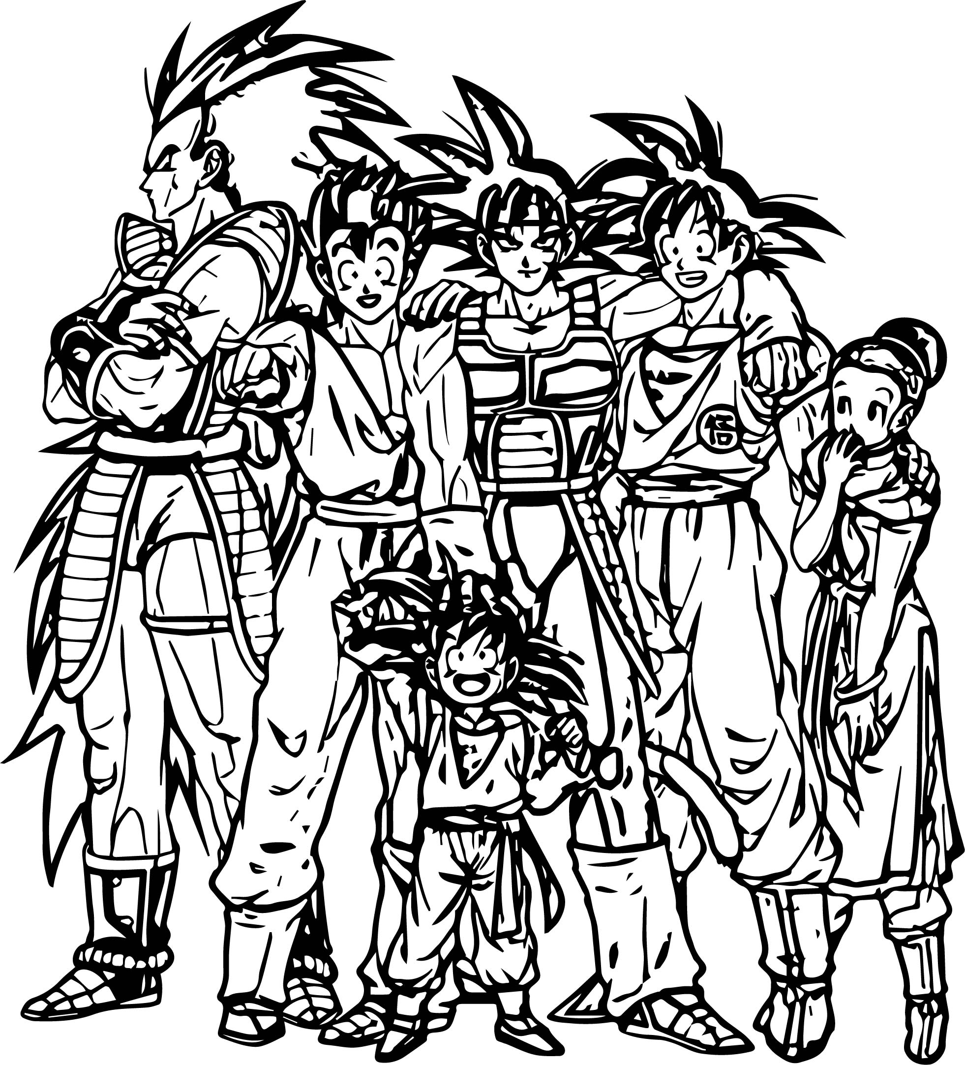 Goku Family Coloring Page