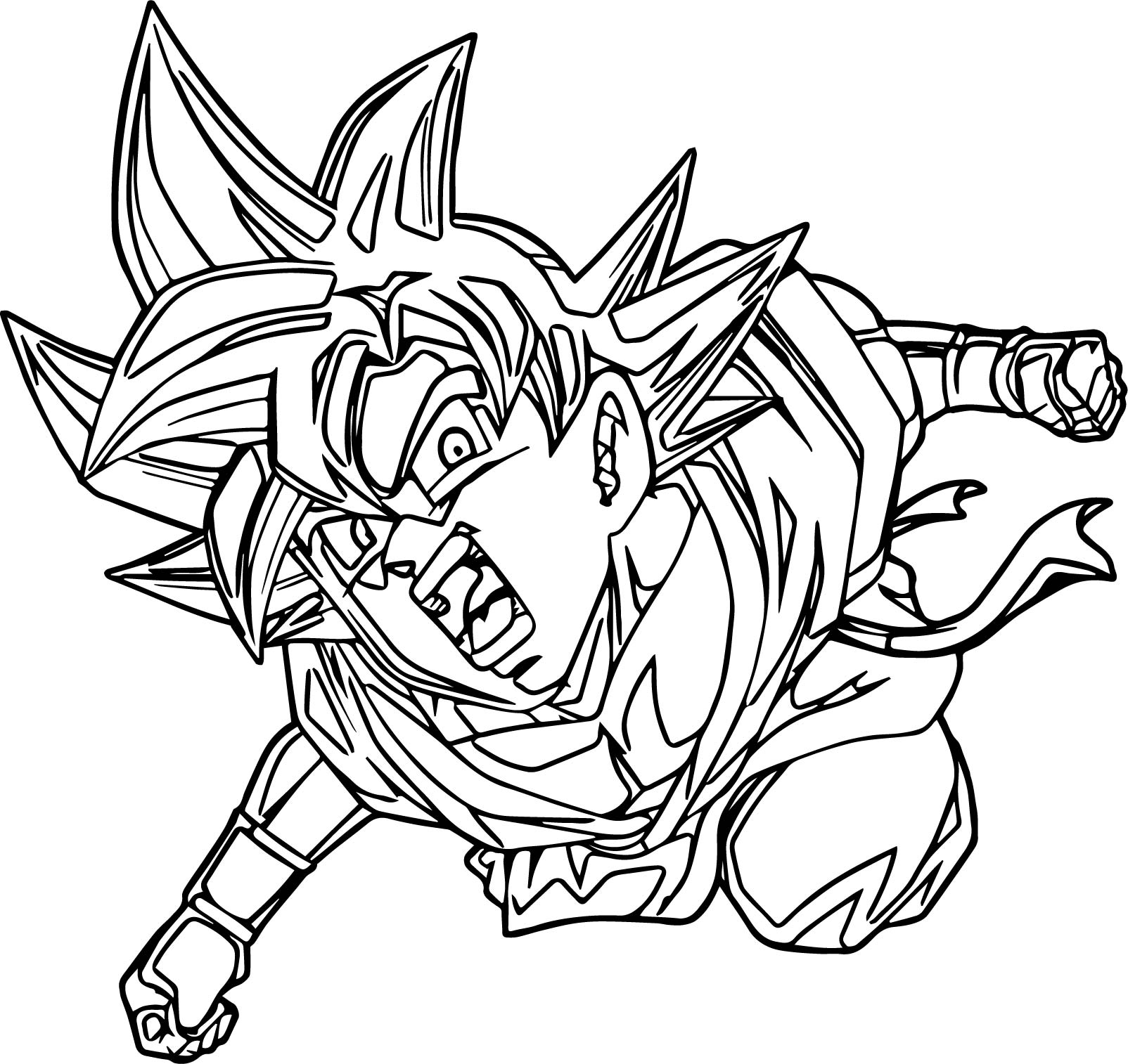 Goku Side Punch Coloring Page
