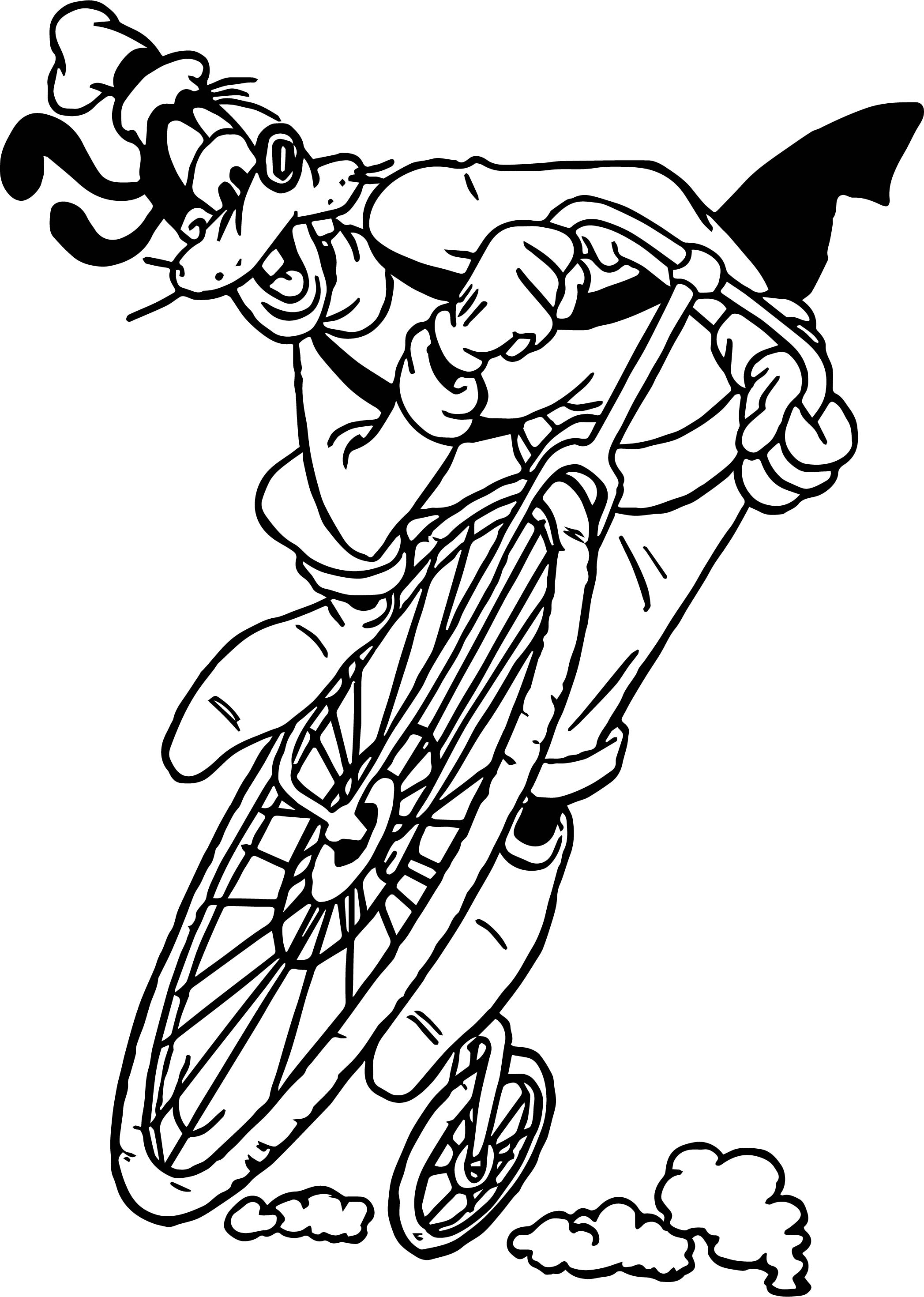 Goofy Bike Coloring Page