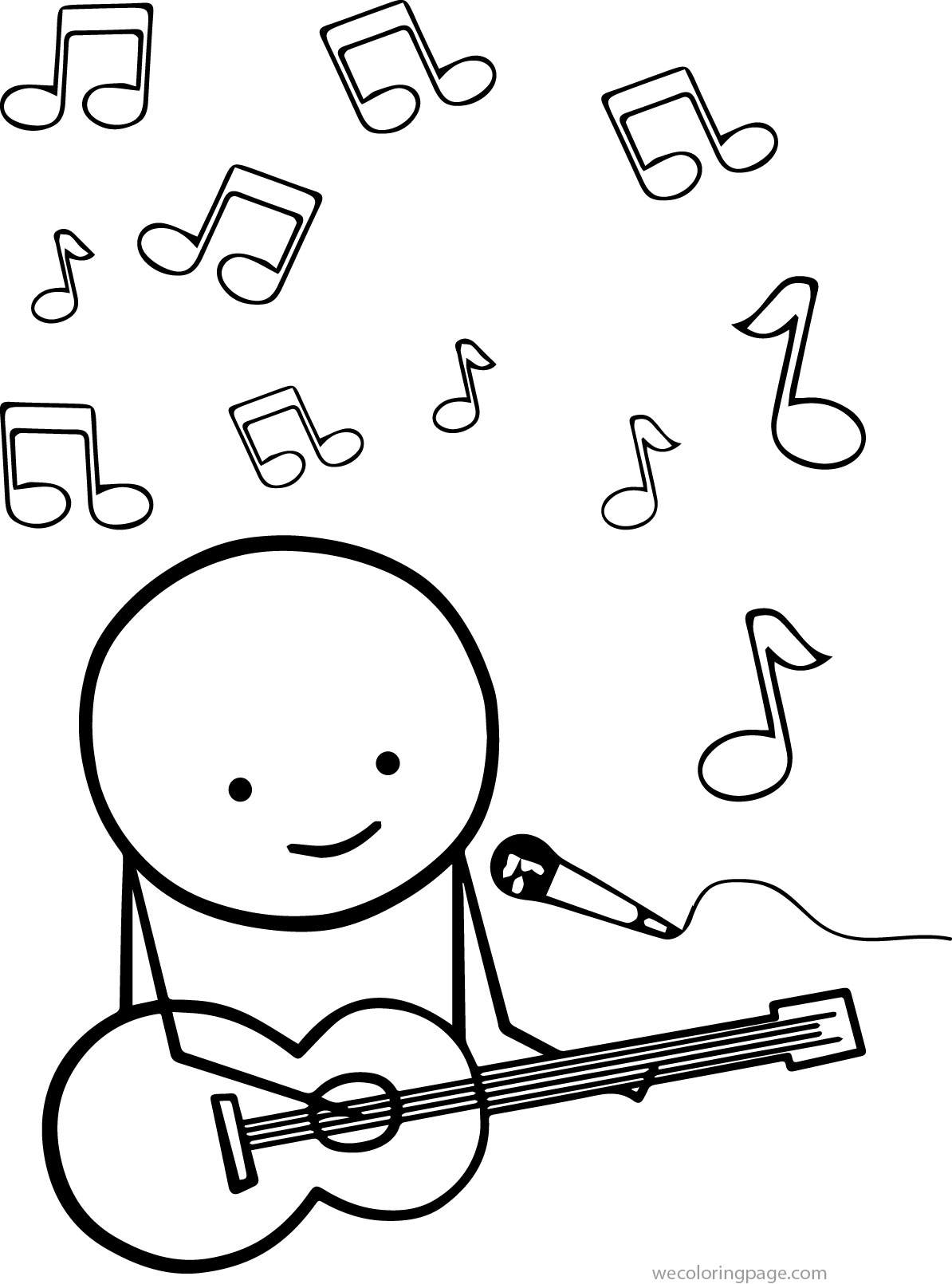Guitar Play Man Coloring Page