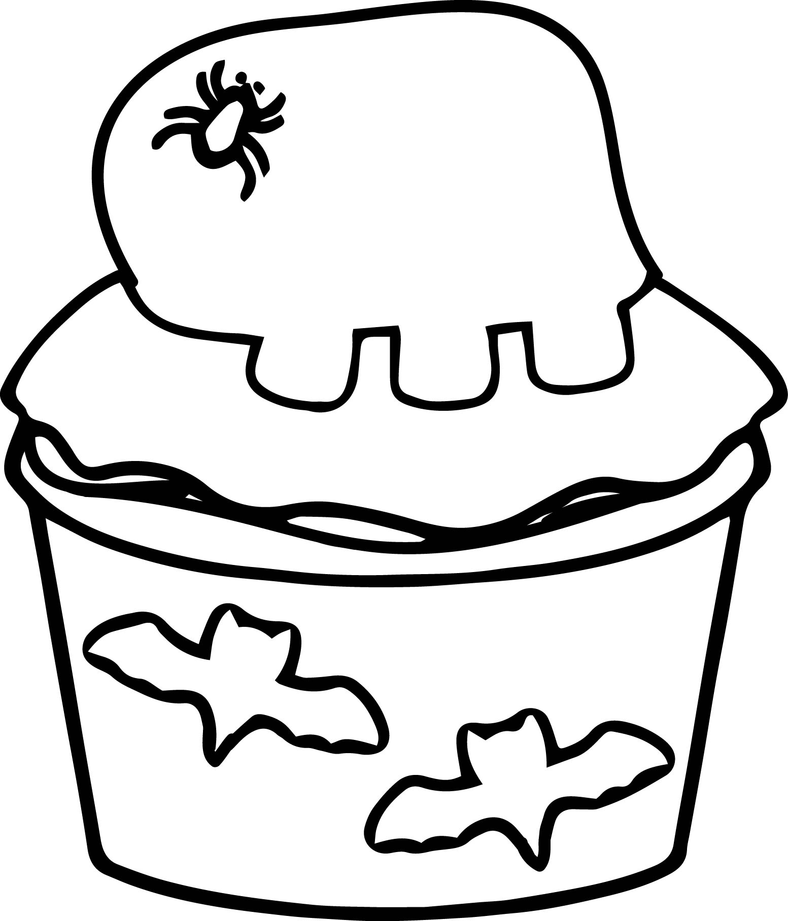 Halloween Bat Cupcake Coloring Pages
