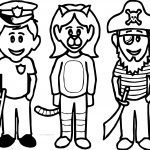 Halloween Kids Police King Pirate Coloring Page