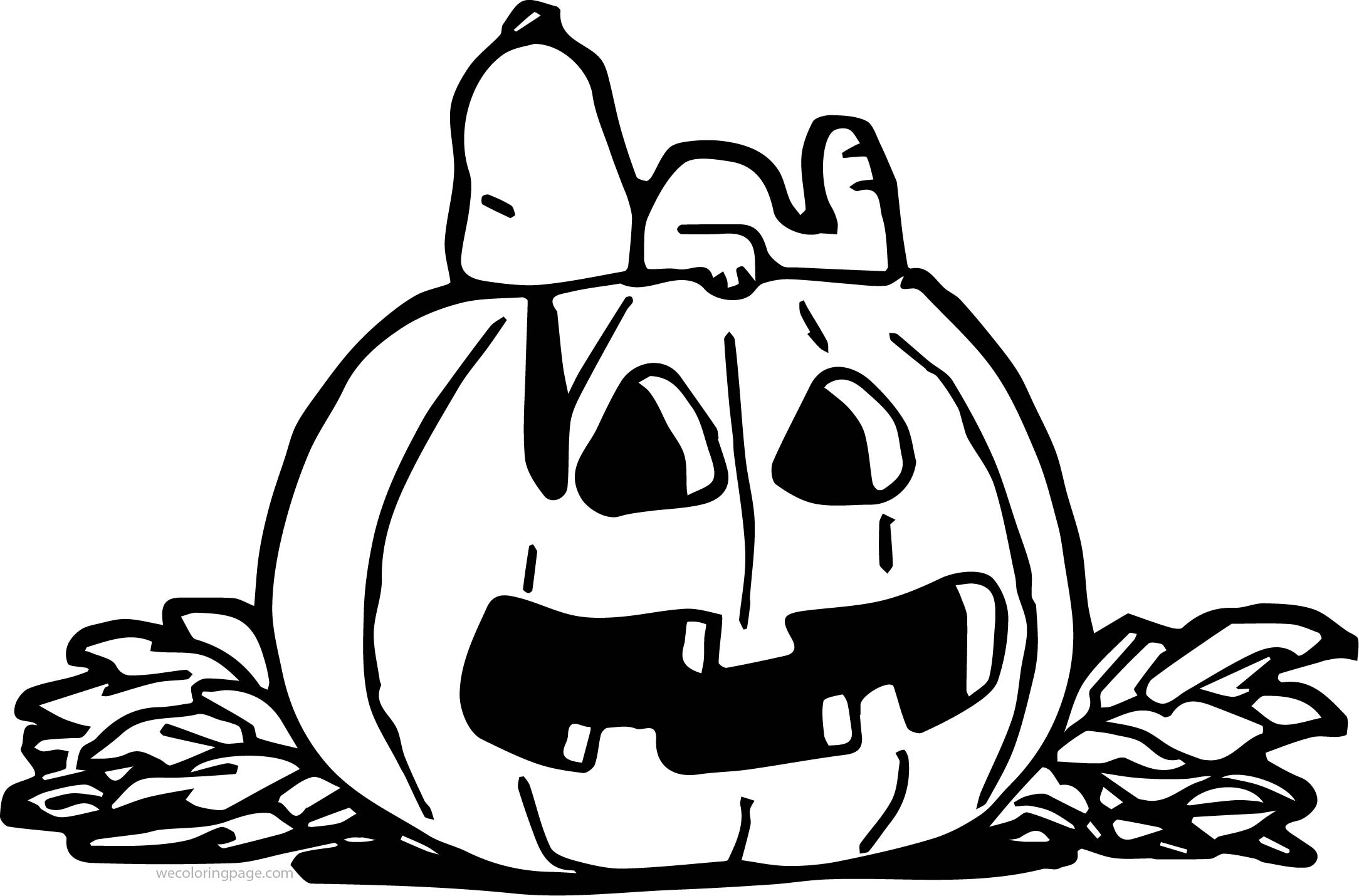 Halloween Snoopy Pumpkin Coloring Page