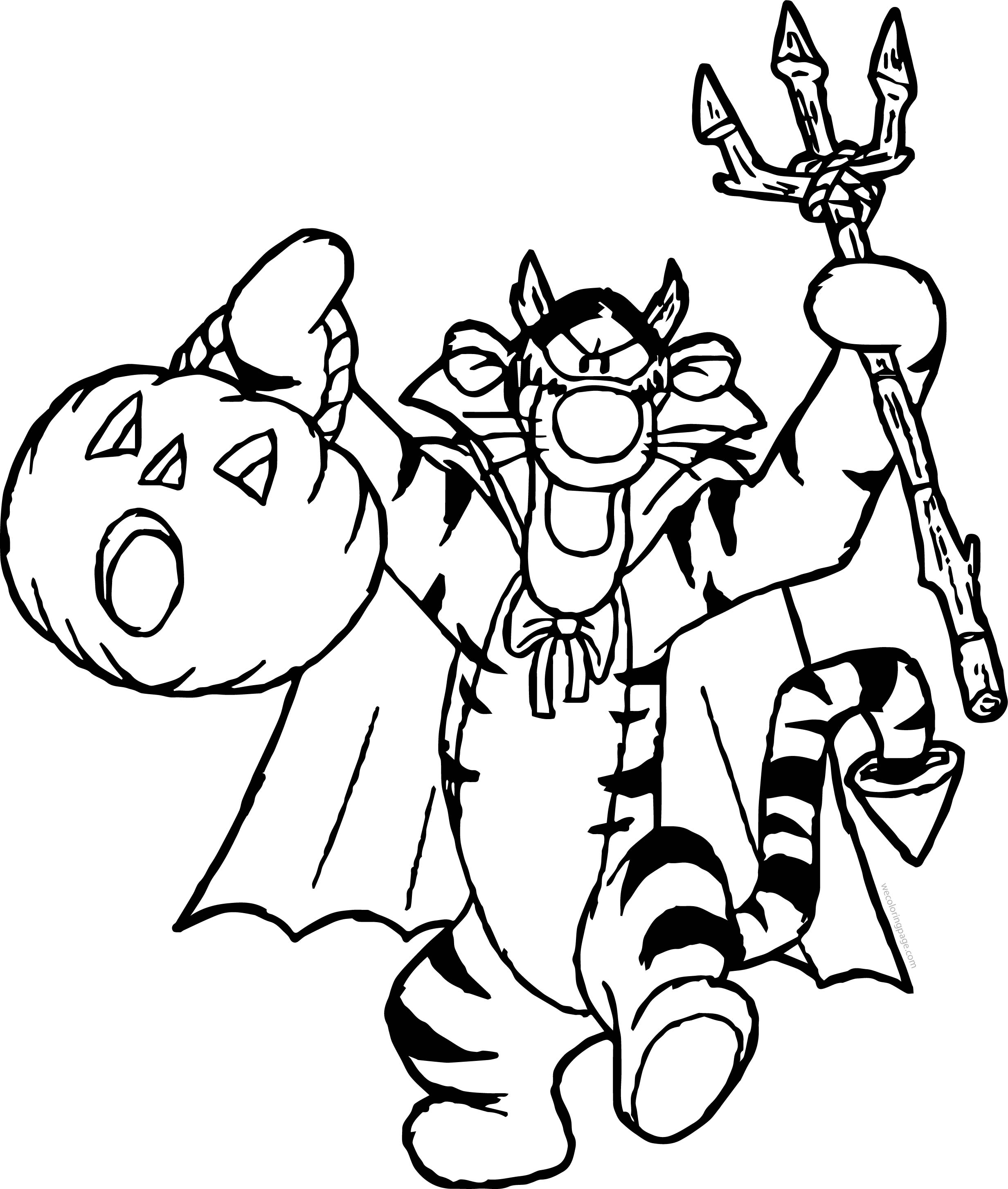 Halloween Tiger Coloring Page