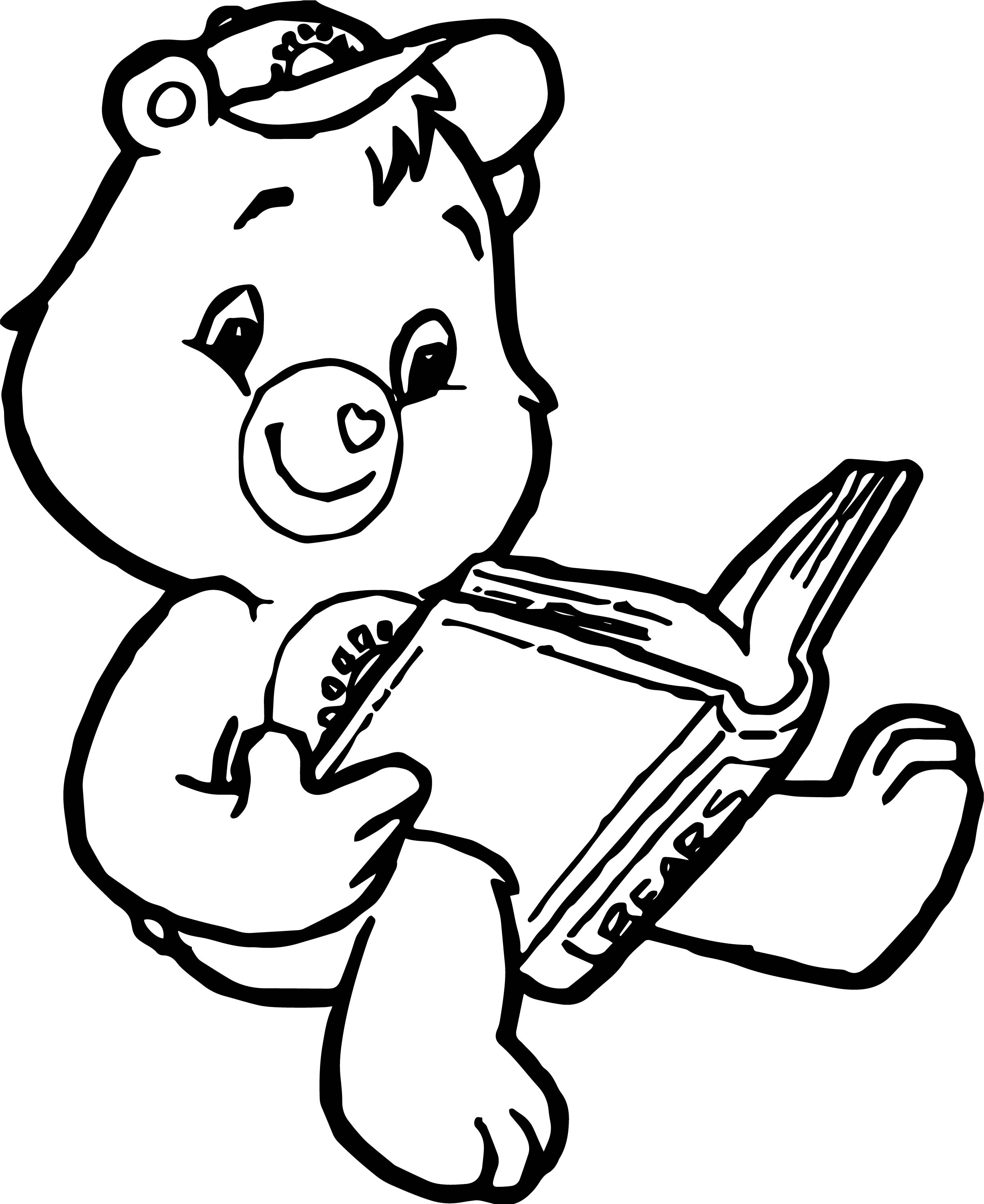 Hand Bear Reading Book Coloring Page