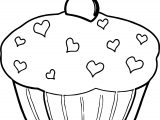 Heart Cupcake Cup Cake Coloring Page